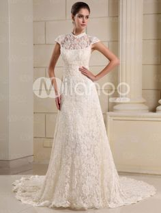 Champagne A-line High Collar Beading Lace Bridal Wedding Gown - Milanoo.com