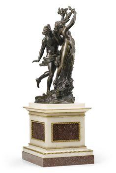 Francesco Righetti (1749-1819), Italian, Rome, Apollo and Daphne, signed and dated on the base Righett. F. Rome. 1791, bronze on an associated marble base