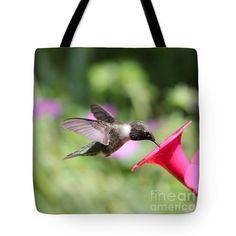High Flyer 3 Tote Bag by Carol Groenen #hummingbirds #totebags #birds #cutebirds