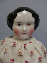 "20"" early BROWN EYED German China Head Doll c1850 COVERED WAGON Original Body"