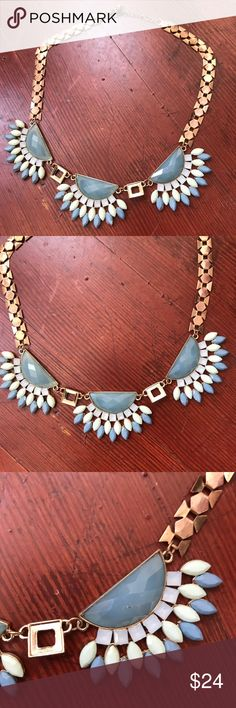 """Art Deco Rhinestone Flower Feather Necklace Chunky Flower Feather Collar Necklace Rhinestone Statement Gold Jewelry Fringe  Feminine blue and green art deco style rhinestone necklace on a gold chain. The flowers look like feathers!  Chain Length: 16""""-18""""  Excellent condition!  FOLLOW TRIXY XCHANGE! Please check out my other listings for more jewelry! J79  Tags: vtg jewelry retro summer music festival boho bohemian Gypsy accessories burningman burning man Coachella Outfit clothing costume Big…"""