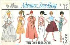 1960s dress patterns for Barbie doll