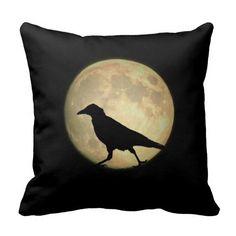Full Moon Walking Crow Silhouette Pillow