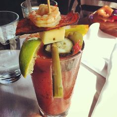 Ultimate Bloody Mary @Lola Denver. I don't even like a bloody Mary but this looks yummy!