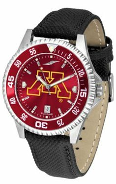 Minnesota Golden Gophers Competitor AnoChrome Men's Watch with Nylon/Leather Band and Colored Bezel by SunTime. $85.45. Showcase the hottest design in watches today! A functional rotating bezel is color-coordinated to compliment the NCAA Minnesota Golden Gophers logo. A durable, long-lasting combination nylon/leather strap, together with a date calendar, round out this best-selling timepiece.The AnoChrome dial option increases the visual impact of any watch with a stun...