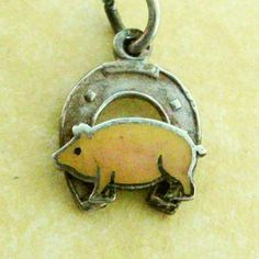 German LUCKY HORSESHOE PIG Vintage Silver Enamel Charm