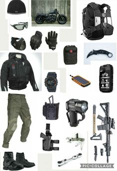 EDC loadout 2 - beyond bug out Sneaking in another motorcycle survival style! Tactical Wear, Tactical Clothing, Cool Tactical Gear, Tactical Helmet, Apocalypse Survival, Survival Gear, Airsoft Gear, Tac Gear, Combat Gear