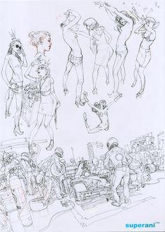Kim Jung Gi - Illustratore e comic book artist coreano Character Design References, Character Art, Character Concept, Art And Illustration, Drawing Sketches, Art Drawings, Junggi Kim, Kim Jung, Animation