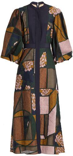 ROKSANDA Faria patchwork balloon-sleeved dress