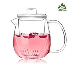 Luxtea Glass Teapot Heat Resistant Jug Borosilicate Infuser Scented Tea Kettle With A Glass Filter Can Hold 600ml/21.4oz For Loosing Tea leaves -- You can find more details by visiting the image link.