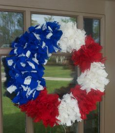 Wreath - Patriotic Rag Wreath - Burlap - Fourth of July on Etsy, $45.00