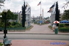 Disneyland, Tomorrowland, Entrance, 1959. Walt Disney would often purchase a hot dog from a park vendor, then start walking as he ate. When he finished and was left with an empty wrapper, he would take note of where he was. The next morning, a trash container would be placed at that location.