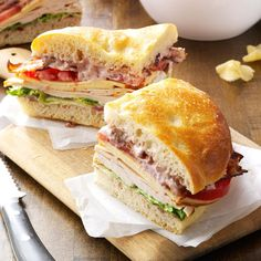 Turkey Focaccia Club Recipe -My family thinks this sandwich is pure heaven, thanks to the cranberry-pecan mayo. It's so good, I'm asked to make all year long. —Judy Wilson, Sun City West, Arizona