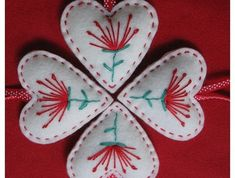 POHUTUKAWA Felt Christmas Heart Decoration - perfect combo of Scandinavian design and kiwiana