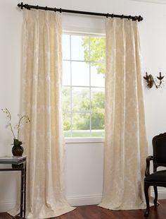 2-1(Pair) Mayfair Cream Cotton Damask Curtains