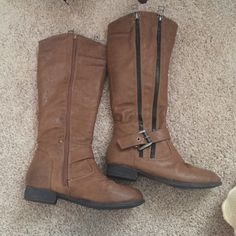 Buckle riding boots Brown and black. Signs of wear pictured by zipper. Heels and sole are fine Buckle Shoes