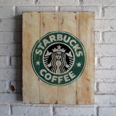 Starbucks Coffee.  Spray stencil on wood. 40 x 50 x 2 cm  #woodsign…