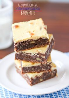German Chocolate Cheesecake Brownies -- I took these to a potluck and had SO MANY requests for the recipe.