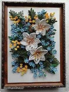 Картина панно рисунок Квиллинг Вальс цветов Бумажные полосы фото 6