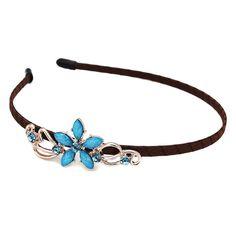 Fashion Korean Blue Flower Hair Bands With Brown Cloth