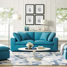 Modway Commix Down Down Filled Overstuffed 2 Piece Sectional Sofa Set, Two Corner Chairs, Teal: Kitchen & Dining Living Room Sets, Modern Furniture Living Room, Room Set, Sectional, Teal Sofa, Contemporary Modern Sectional, Sofa Sale, 2 Piece Sectional Sofa, Sofa