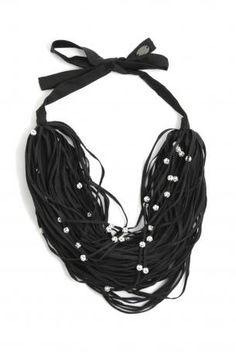 Maria Calderara-black laces and jewels necklace-collana di lacci neri e bijoux