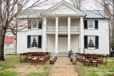 outdoor wedding, ceremony location, gorgeous venue, brown folding chairs, event space, tennessee wedding locations, wedding photographer  :: James + Elena's Wedding at The Sam Davis Home in Smyrna, TN :: with Christine @Historic Sam Davis Home