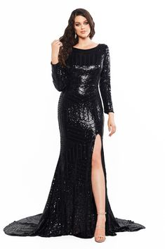 A&N Curve Aria Sequin Long Sleeve Gown with Slit - Black Sequin Dress With Sleeves, Plus Size Sequin Dresses, Long Sequin Dress, Sequin Gown, Satin Dresses, Dresses With Sleeves, Sparkly Dresses, Slit Dress, Curve Prom Dresses