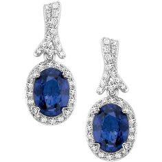 EFFY Sapphire and Diamond Earrings in 14K White Gold ($1,098) ❤ liked on Polyvore featuring jewelry, earrings, blue, blue sapphire earrings, 14k white gold earrings, 14k diamond earrings, sapphire diamond earrings and sapphire earrings