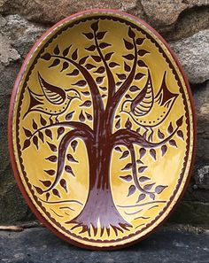 Pennsylvania Redware Pottery decorated with the sgraffito technique Pottery Supplies, Pottery Classes, Pottery Wheel, Pottery Art, Pottery Designs, Earthenware Clay, Sgraffito, German Folk, Hand Thrown Pottery