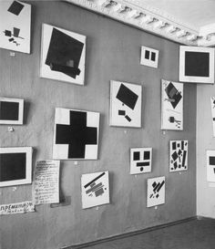 Installation view of Kazimir Malevich's paintings at 'The Last Futurist Exhibition of Painting 0:10', Petrograd, 1915 - 'Each shape has a real type of time and the coloration of colours is the power of the time's oscillation, time's movement creates shape while simultaneously colouring it and consequently the speed of time can be defined by colour.'