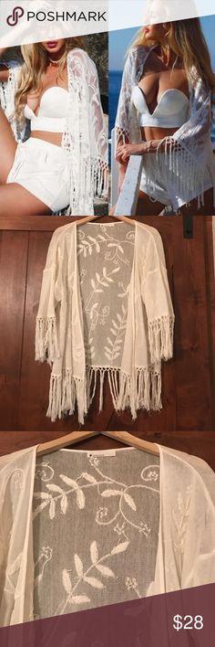Papercrane Lace Fringe Tassel Kimono Cardigan Worn one time - like new. Color: Ivory. One size fits most. Paper Crane Sweaters Shrugs & Ponchos