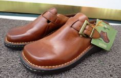 """EARTH SHOE Women's Gelron 2000 """"Hickory"""" Brown Leather Clogs 2"""" Heels 8M Shoes Now $24.87"""