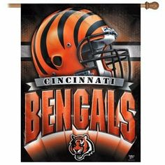 "NFL Vertical Cincinnati Bengals Flag / Banner by TeamFanatics. $18.99. Dimensions: 27"" x 37""Perfect for decorating walls and showing your support for that favorite team!Due to constantly updated designs, actual banner design may vary from picture shown aboveIn order to keep inventory designs current, this is a special order item."