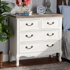 Baxton Studio Amalie Antique French Country Cottage Two-Tone White and Oak Finished Accent Dresser Two Tone Dresser, Oak Dresser, 4 Drawer Dresser, Dresser As Nightstand, Refinished Dressers, Dresser Ideas, Bedroom Dressers, French Provincial Bedroom, French Provincial Furniture