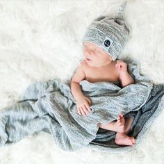 Gray texture swaddle and beanie