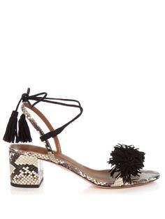 Wild Thing fringed snakeskin sandals | Aquazzura | MATCHESFASHION.COM UK