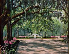 Oil painting.  Forsythe Park  Savannah, Georgia.