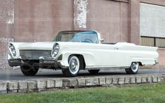1958 Lincoln Continental - Ford Motor Company debuted an entirely new Continental for 1958. Departing from body-on-frame models, the Continental Mark III employed advanced unibody construction, a new engine, transmission, and suspension. The 1958, with its 131″ wheelbase and 229″ overall length, is the longest postwar US convertible ever produced. This exceptional unrestored Starmist White Continental Mark III Convertible […] Ford Lincoln Mercury, Lincoln Motor Company, Ford Motor Company, Vintage Cars, Antique Cars, Convertible, American Classic Cars, Lincoln Continental, New Engine