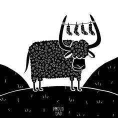 Y for #yak. Illustration in black and white