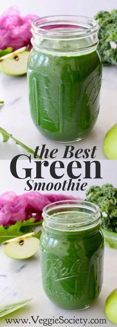 the Best Green Smoothie Recipe Made with organic orange, kale, spinach, dandelion greens and green apples. Simple, easy, tasty and good for you. Perfect for breakfast or dinner. Plant-Based Vegan • Gluten-free • Healthy | VeggieSociety.com @VeggieSociety