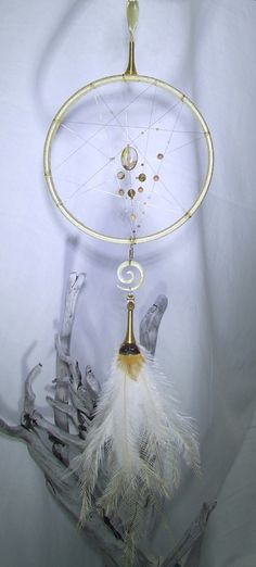 Beige Gold Crystal Dream Catcher Wall Hanging Cream Crystal Ornament Beaded Dream Catcher Mother of Pearl Spiral Emu Feathers Gold Bedroom by TigerEmporium on Etsy