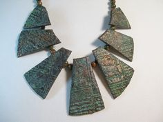 Ancient Bronze Faux Bib Necklace Polymer Clay with Unikite Spacer Beads Handmade