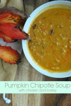 This Chipotle Pumpkin Soup {with barley and chicken} is my FAVORITE soup for fall and winter. It's hearty and healthy soup with the smokey flavor of the chipotle, combined with the texture of the barley and chicken. via lifeingrace (no chicken! Pumpkin Soup, Pumpkin Recipes, Fall Recipes, Real Food Recipes, Soup Recipes, Great Recipes, Cooking Recipes, Yummy Food, Favorite Recipes