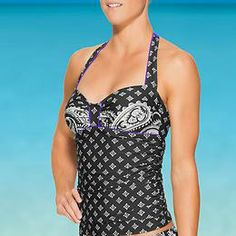 Namaste Sara Bra Cup Halter Tankini - A sophisticated damask-inspired print combines with florals in this underwire suit for the B-DD woman.