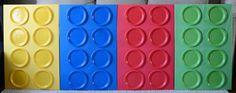 Foam board + Paper Plates = giant lego decorations