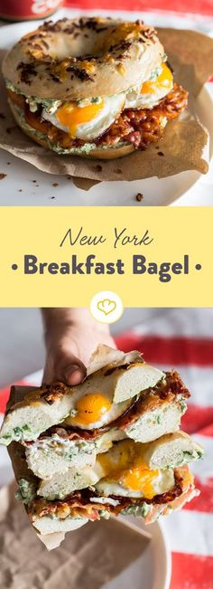 Do you fancy an unusual breakfast? Then make yourself a New York Breakfast bagel with cream cheese, tomatoes, eggs and bacon. Do you fancy an unusual breakfast? Then make yourself a New York Breakfast bagel with cream cheese, tomatoes, eggs and bacon. Breakfast And Brunch, New York Breakfast, Breakfast Crepes, American Breakfast, Bacon Breakfast, Breakfast Sandwiches, Breakfast Ideas, Healthy Food Recipes, Vegan Breakfast Recipes
