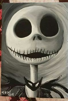 Jack Skellington - nightmare before Christmas Nightmare Before Christmas, Halloween Painting, Halloween Crafts, Halloween Canvas Paintings, Halloween Drawings, Happy Halloween, Arte Tim Burton, Jack Skellington Faces, Jack Skellington Pictures