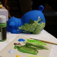 Custom piggy bank in process. Love when we get to play with color to create one of a kind gifts!