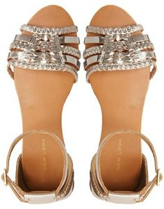 Image 3 ofNew Look Grecian Gold Leather Flat Sandals